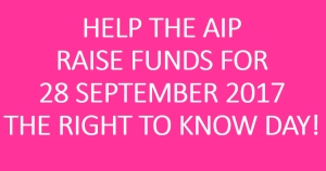 Help AIP Raise Funds for the 15th Right to Know Day!